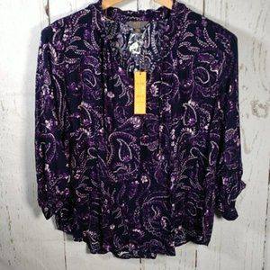 Mix by 41 Hawthorn Printed Tunic Top Purple 2X